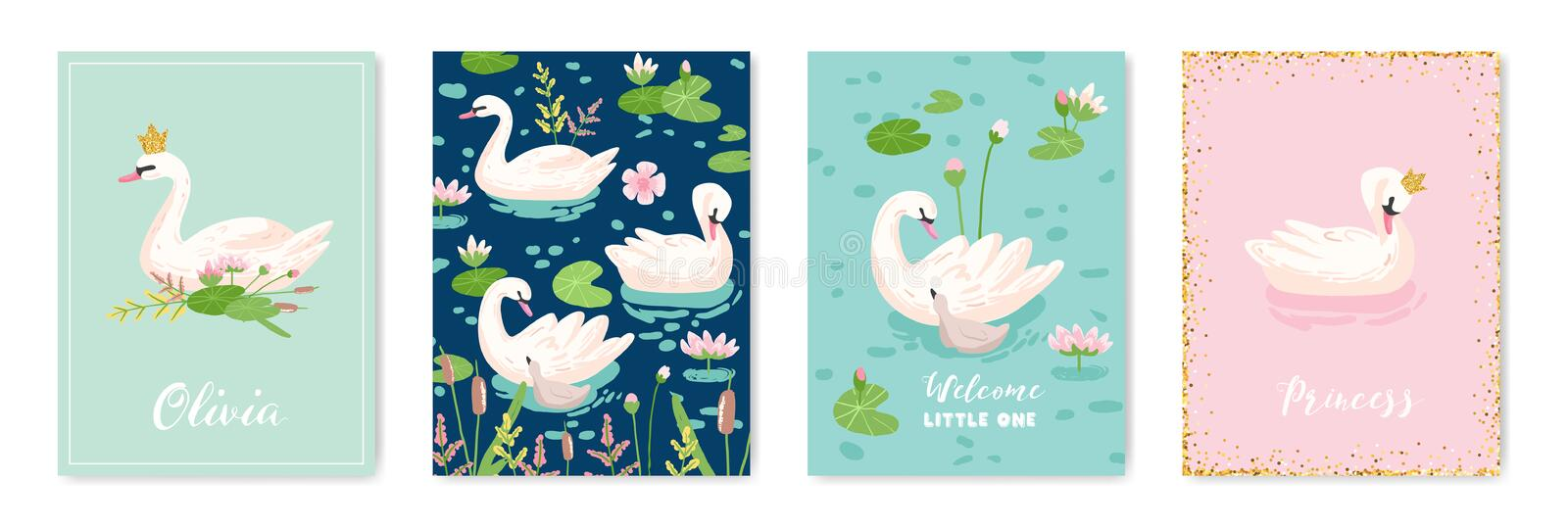 Collection of Beautiful Swans Posters for Design Print, Baby Greetings, Arrival Cards, Invitation, Children Store Flyer stock illustration