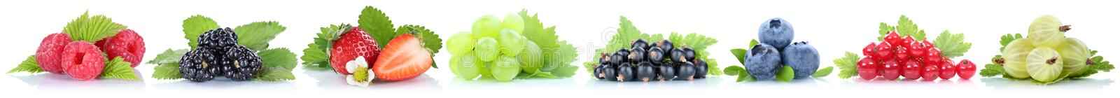 Collection of berries fruits grapes strawberries blueberries red royalty free stock photography