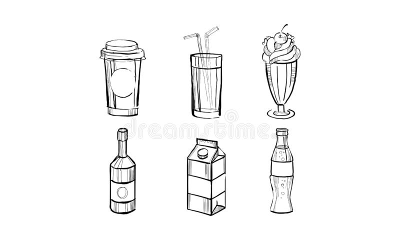 Collection of beverages, soda drink, milkshake, paper box of milk, juice hand drawn vector Illustration on a white stock illustration