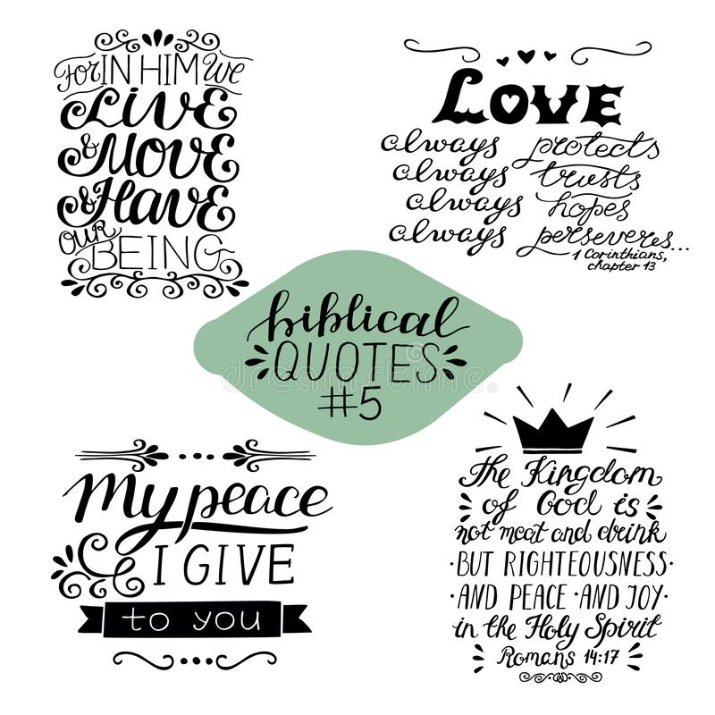 Collection 4 with 4 Bible verses. My peace I give to you. Love always. The Kingdom of God vector illustration