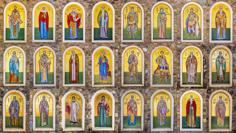 Collection of biblical figures, made with mosaic tiles. Kykkos Monastery, Cyprus royalty free stock images