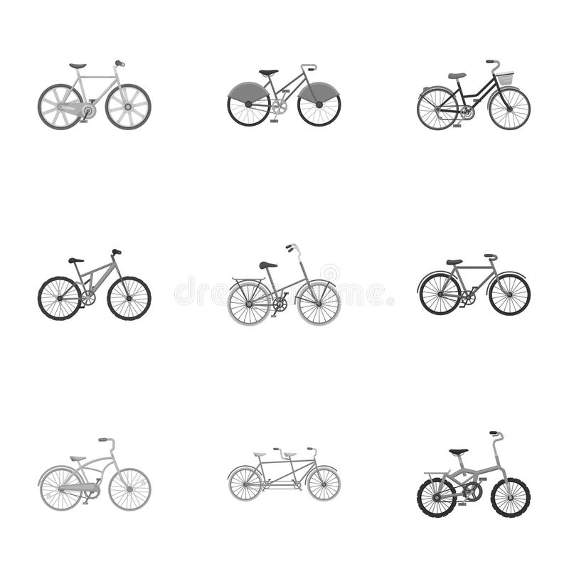 Collection of bikes with different wheels and frames. Different bikes for sport and walks.Different bicycle icon in set. Collection on monochrome vector symbol royalty free illustration