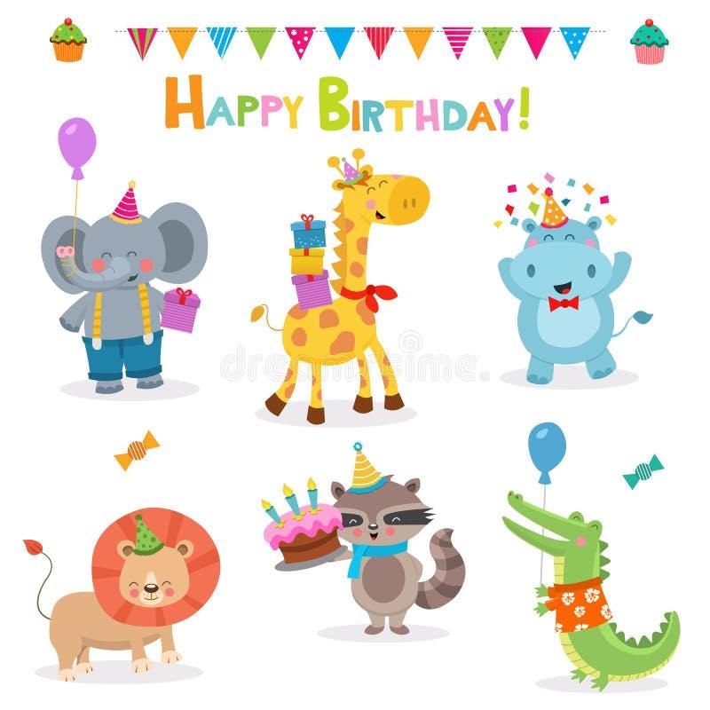 Collection Of Birthday Animals royalty free illustration
