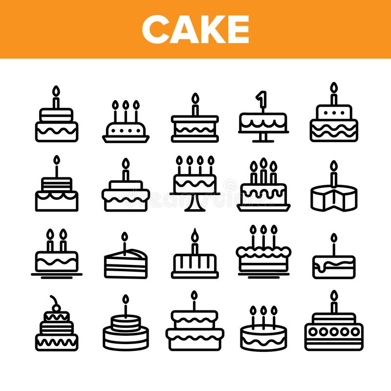 Collection Birthday Cake Sign Icons Set Vector royalty free illustration