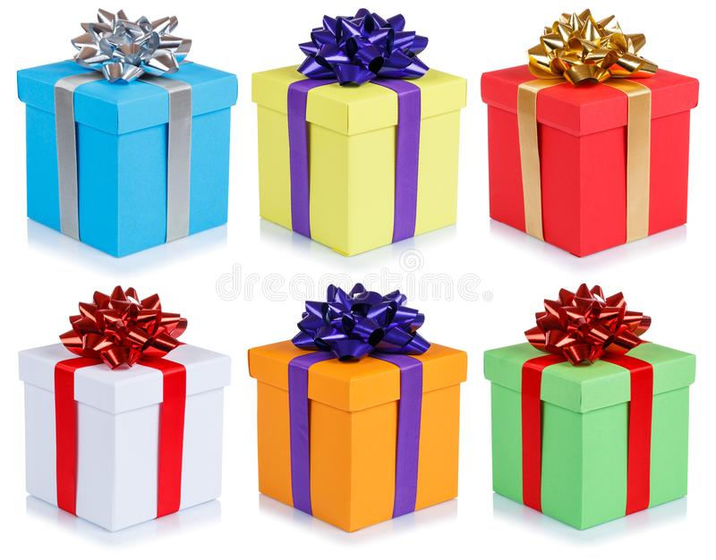 Collection of birthday gifts christmas presents boxes isolated o stock image