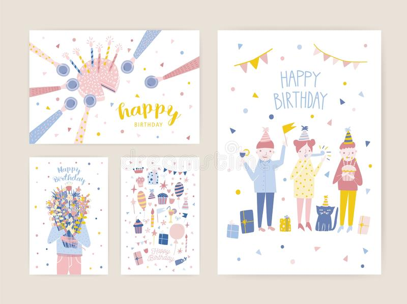 Collection of birthday greeting card, postcard or party invitation templates with happy people, cake with candles royalty free illustration