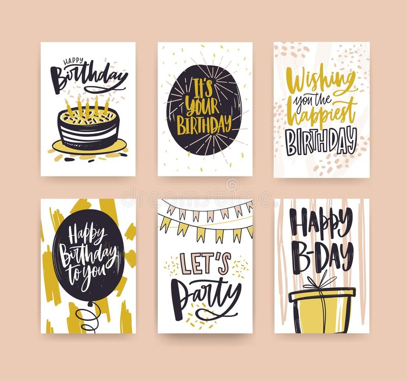 Collection of birthday greeting card templates decorated with handwritten wishes and festive elements - gift, cake with vector illustration