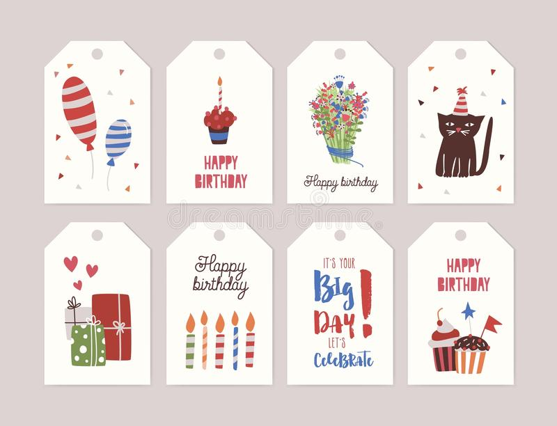Collection of birthday labels or tags with bouquet of flowers, cupcake with burning candle, gifts, balloons, funny vector illustration