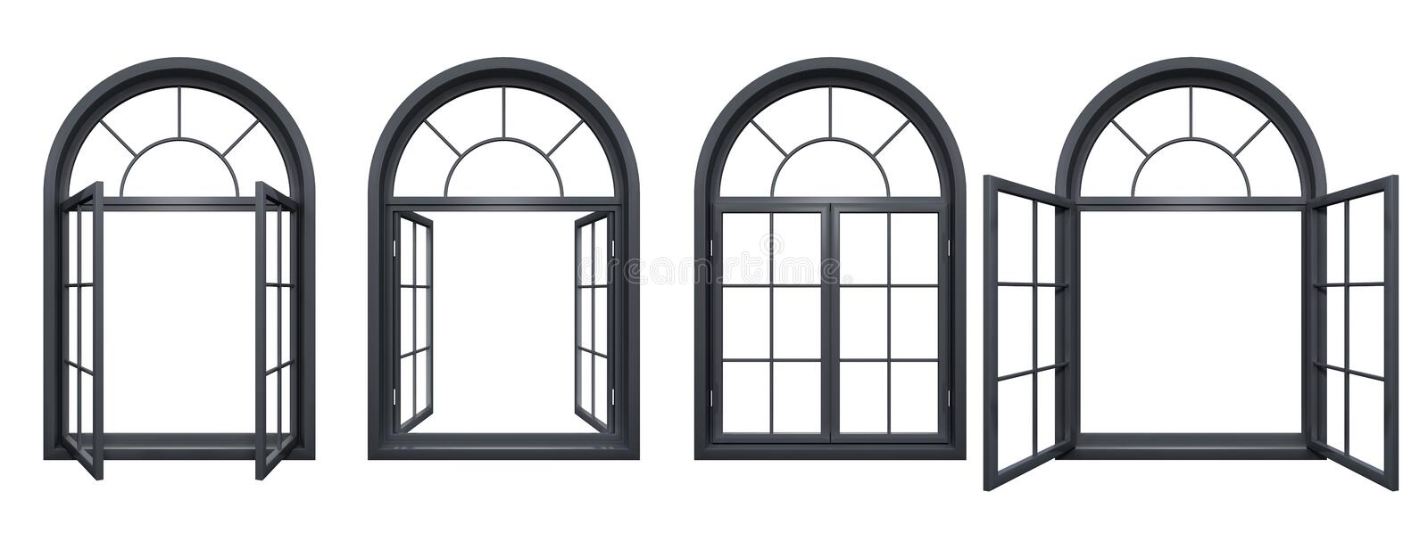 Collection of black arched windows isolated on white. Collection of black arched windows, isolated on white stock illustration