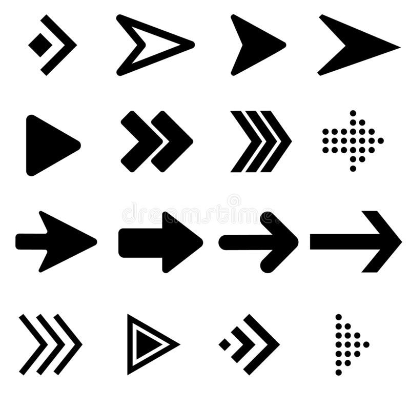 Collection black arrows icon. Arrow icon vector. Collection black arrows icon. Arrow icon vector set vector illustration