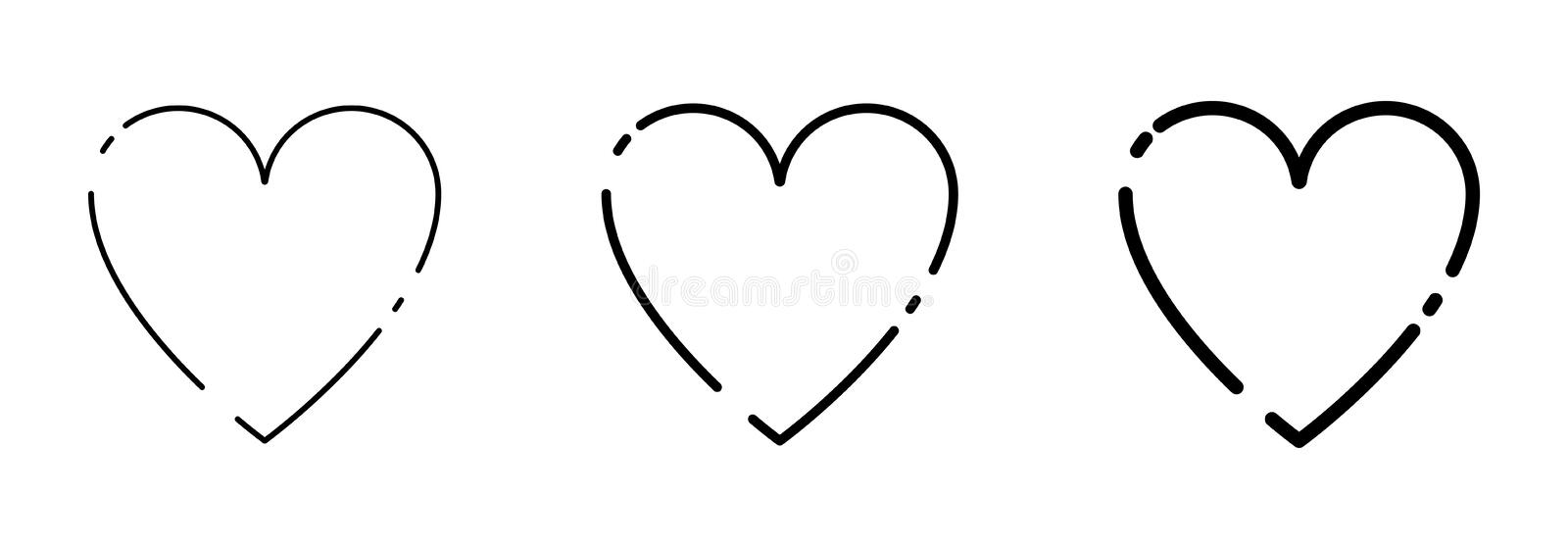 Collection Black Heart icons in lines design stock illustration