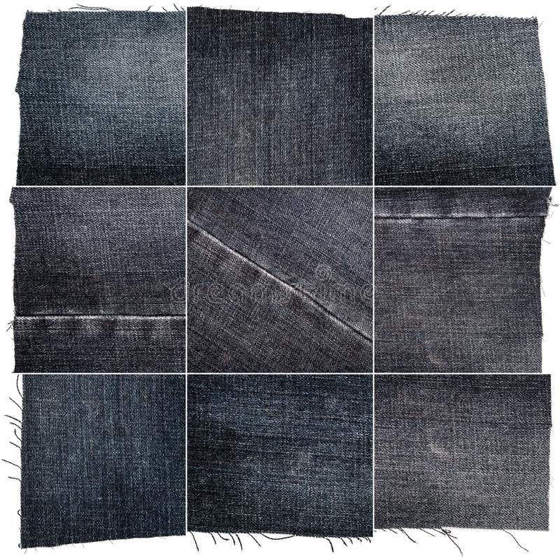 Collection of black jeans fabric textures. Isolated on white background. Rough uneven edges. Square composite image of jeans textures stock photo