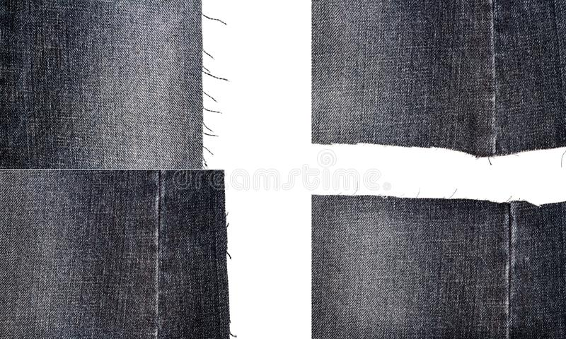 Collection of black jeans fabric textures. Isolated on white background. Rough uneven edges. Torn jeans fabric with copy space stock image