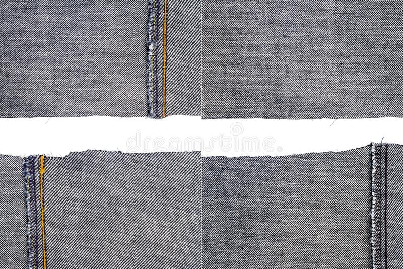 Collection of black jeans fabric textures. Isolated on white background. Rough uneven edges. Torn jeans fabric with copy space. Wrong side of fabric royalty free stock photos