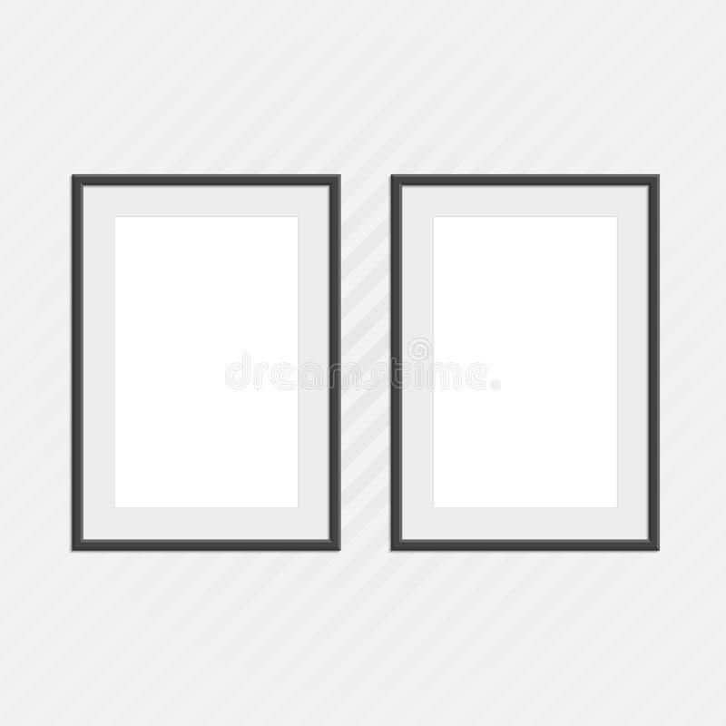 Black photo frames set. royalty free illustration