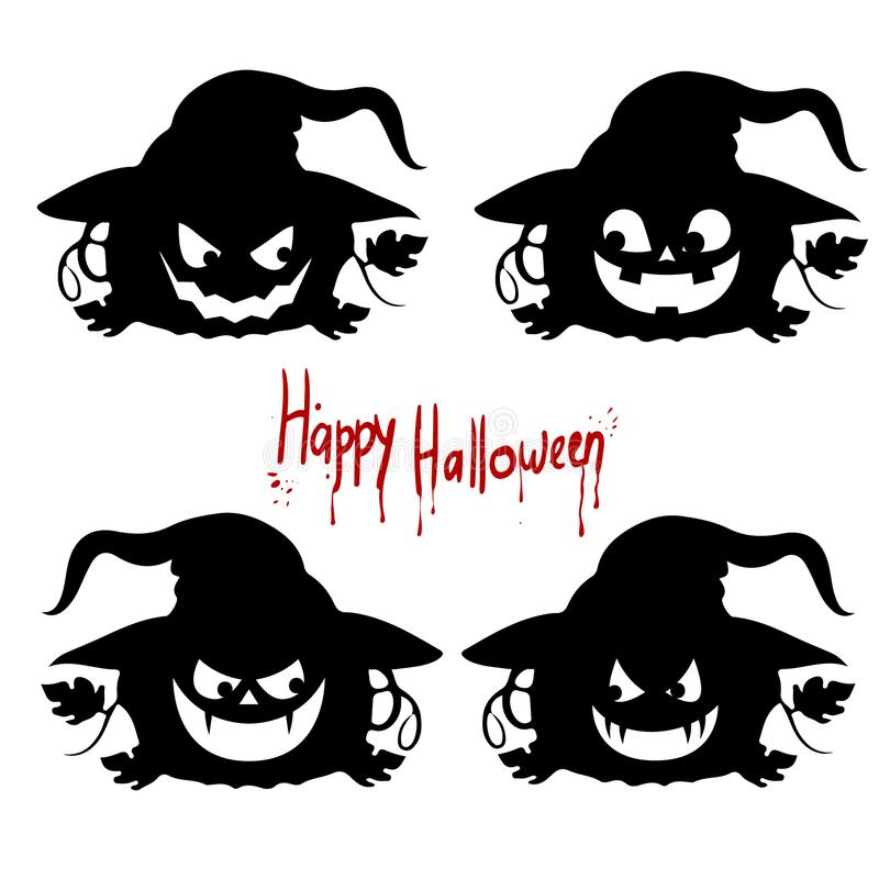 Collection Black silhouette of a pumpkin `Halloween` emotions on a white background vector illustration