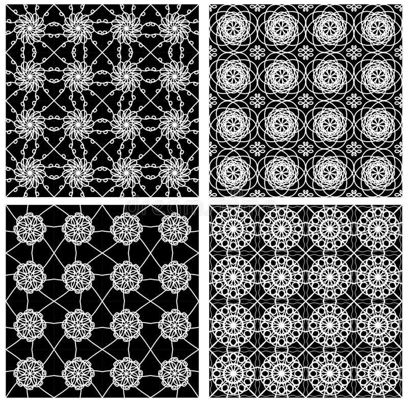 Collection of black and white classical vintage patterns, seamless black tile with white geometric line patterns royalty free illustration