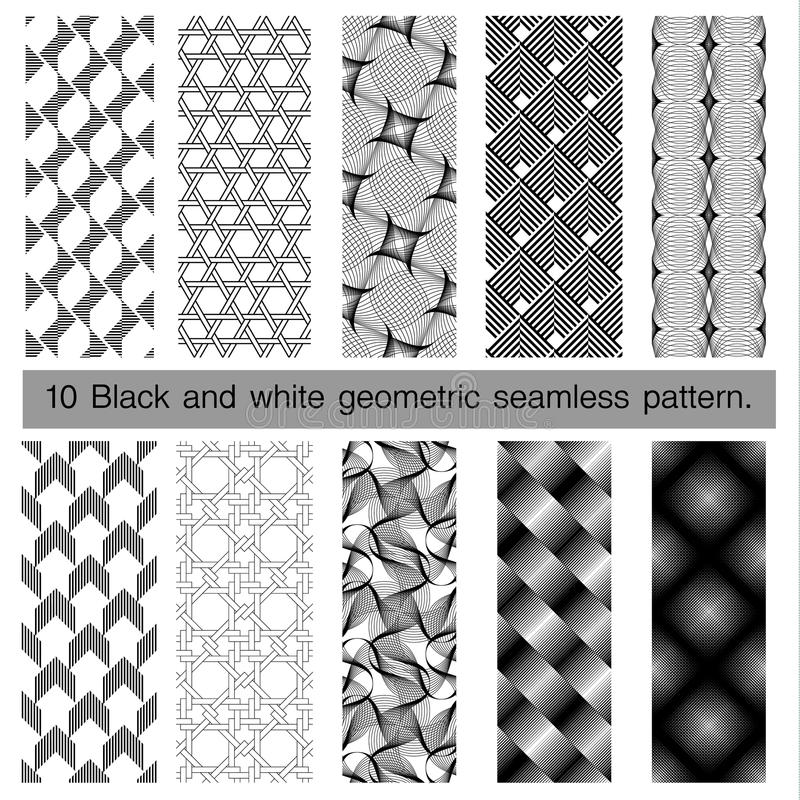 Collection of black and white geometric seamless pattern. Abstract background. Vector seamless pattern royalty free illustration