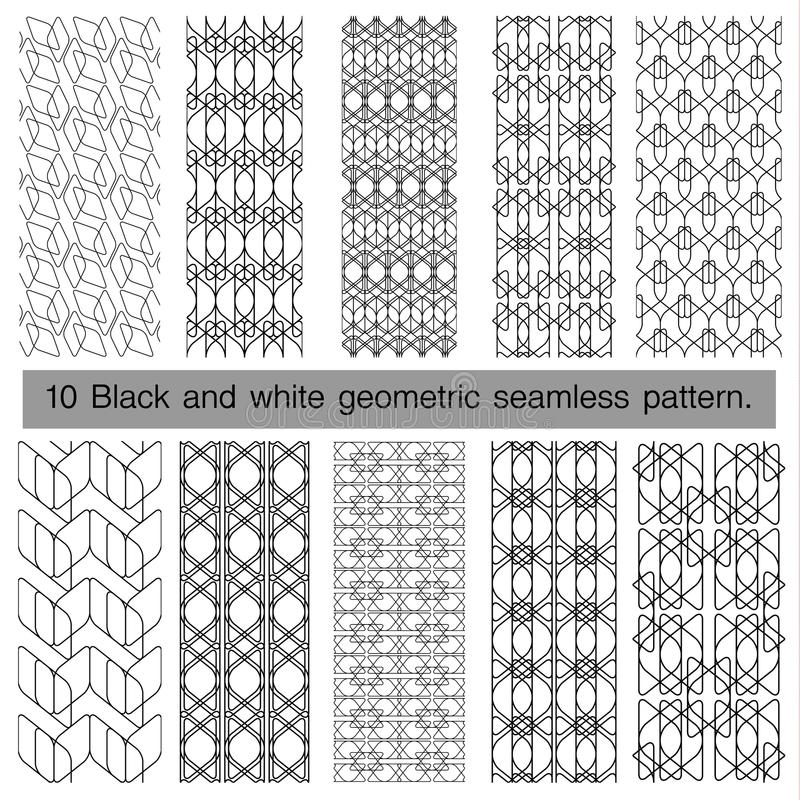 Collection of black and white geometric seamless pattern. vector illustration