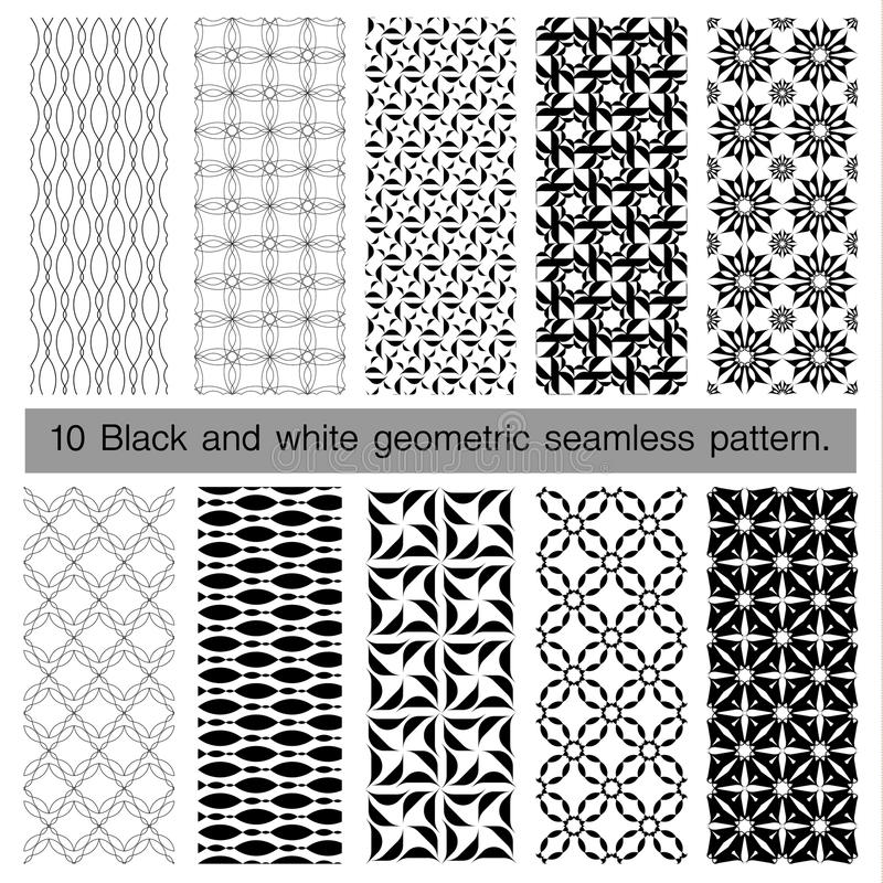 Collection of black and white geometric seamless pattern. royalty free illustration
