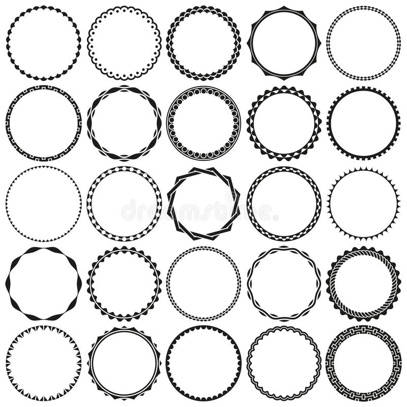 Collection of Black and White Round Decorative Border Frames in Black and White with Clear Background vector illustration