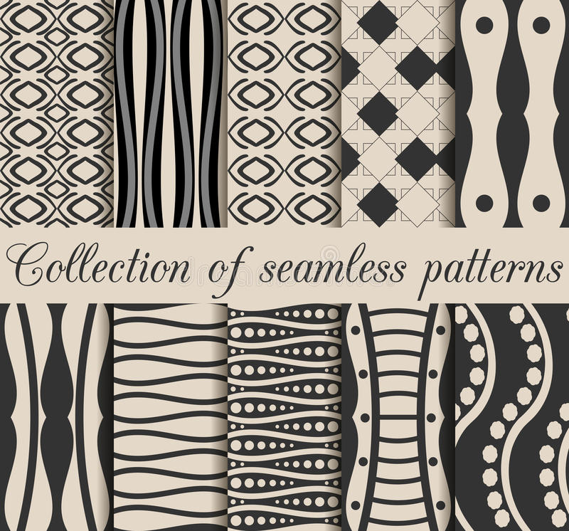 A collection of 10 black and white seamless patterns. Geometric shapes on the background, vector illustration