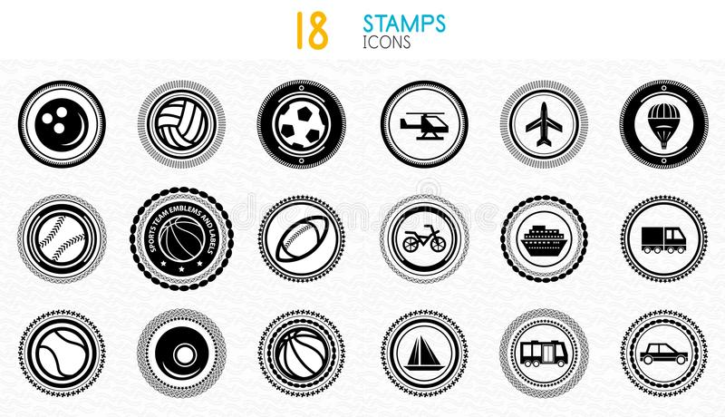 Collection of black and white stamps - quality and concept icons. Vector illustrations royalty free illustration