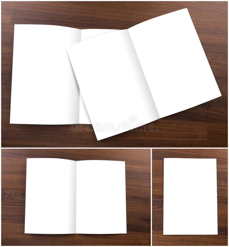 Collection of Blank catalog, brochure, mock up. Collection of Blank catalog, brochure, mock up on wood background royalty free stock image