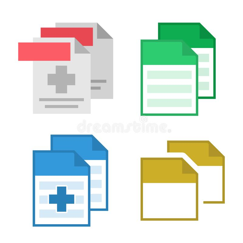 Collection Blank File Document Icon Set Vector. Design Patient Medical Text And Prescription Or Report File With Hospital Cross, Paper Page And Sticker royalty free illustration