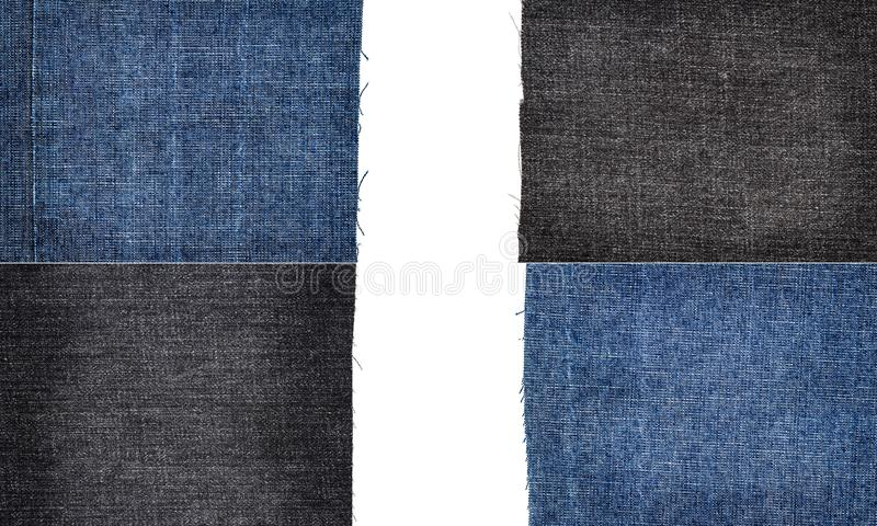 Collection of blue and black jeans fabric textures. Isolated on white background. Rough uneven edges. Torn jeans fabric with copy space royalty free stock photos