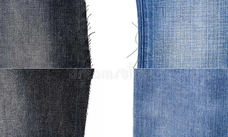 Collection of blue and black jeans fabric textures. Isolated on white background. Rough uneven edges. Torn jeans fabric with copy space royalty free stock photography