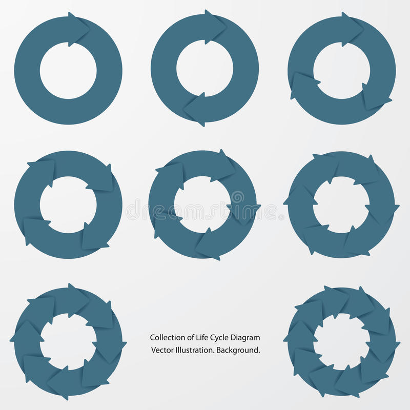 Collection of blue color arrow circle flows. Vector royalty free illustration