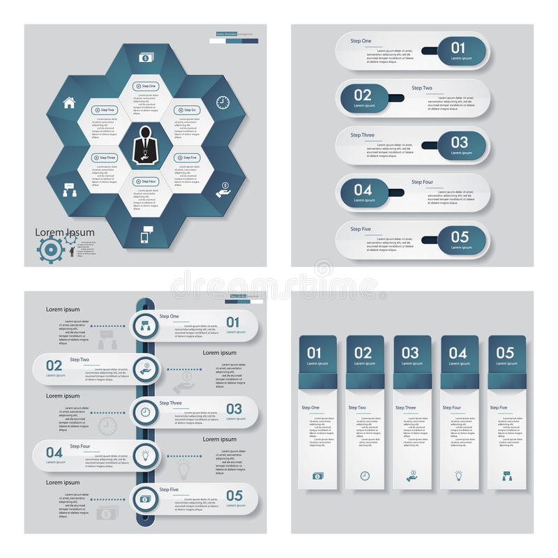 Collection of 4 blue color template/graphic or website layout. Vector Background. For your idea and presentation royalty free illustration