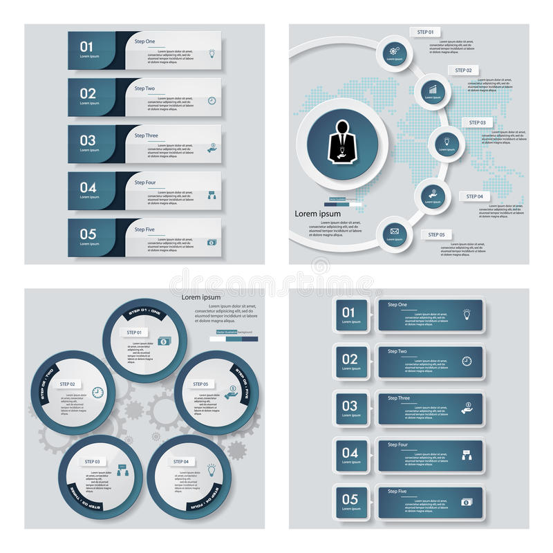 Collection of 4 blue color template/graphic or website layout. Vector Background. For your idea and presentation stock illustration
