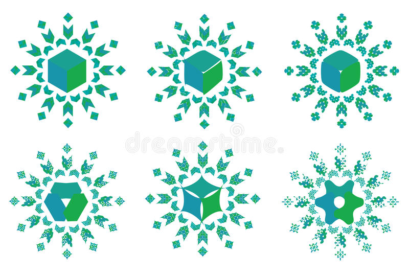 Collection of blue green mandala patterns royalty free illustration