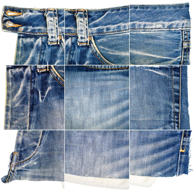 Collection of blue jeans fabric textures. Isolated on white background. Rough uneven edges. Composite image of jeans with pocket stock photo