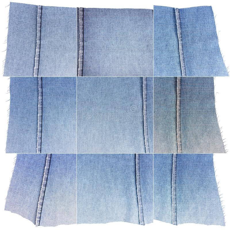Collection of blue jeans fabric textures. Collection of blue jeans textures isolated on white background. Rough uneven edges. Wrong side of the fabric royalty free stock photography