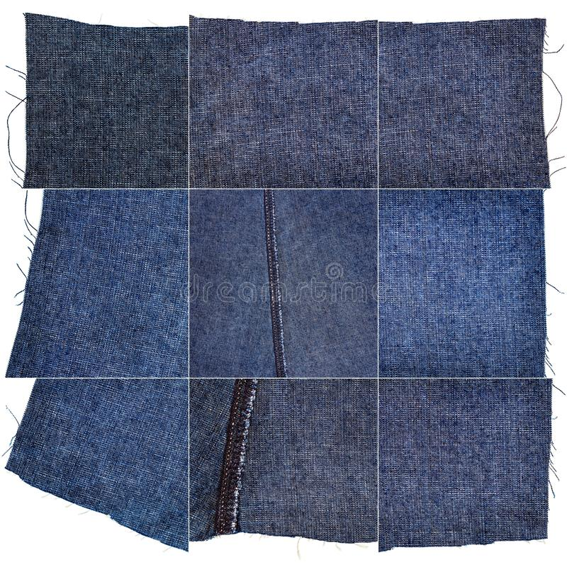 Collection of blue jeans fabric textures. Collection of blue jeans textures isolated on white background. Rough uneven edges. Wrong side of the fabric stock image