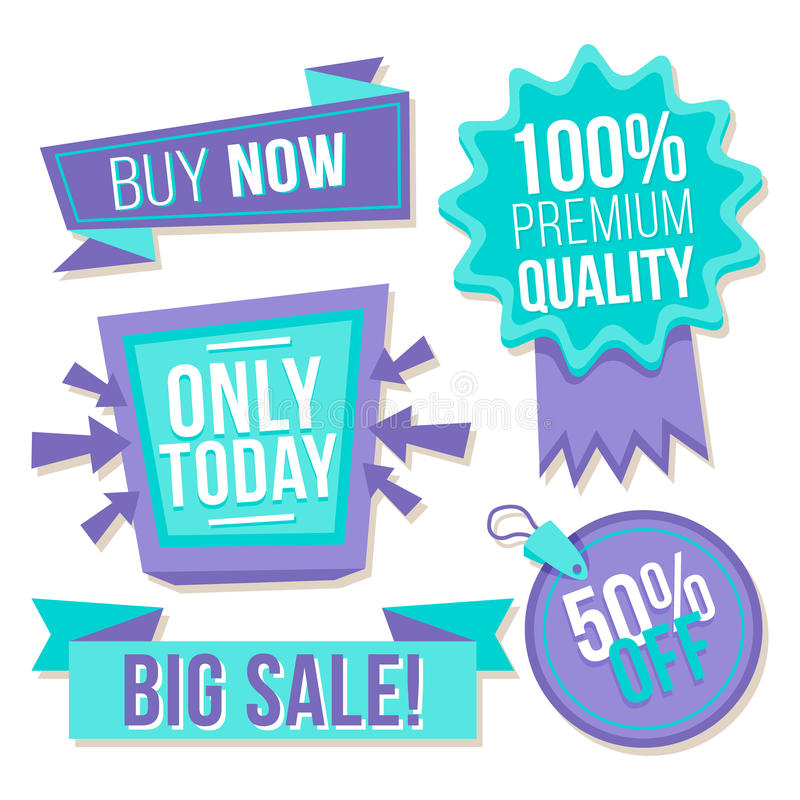 Collection blue purple discount stickers royalty free stock images