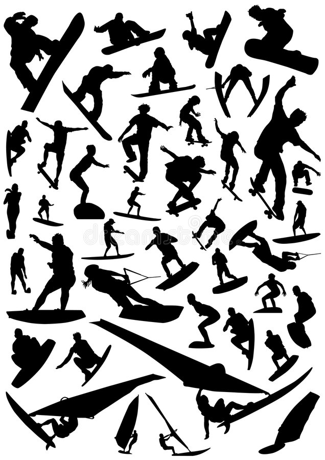 Collection of board sports vector 4 vector illustration