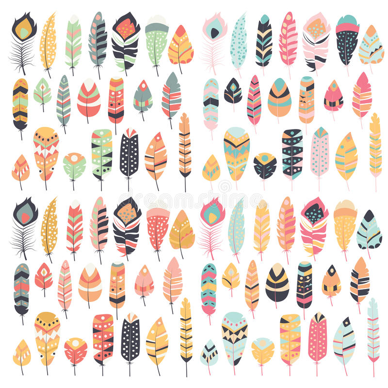 Collection of boho vintage tribal ethnic hand drawn feathers royalty free illustration
