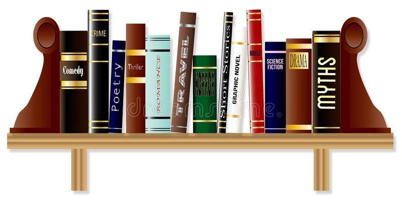 Genre Book Shelf. A collection of books on a bookshelf each of a different genre stock illustration