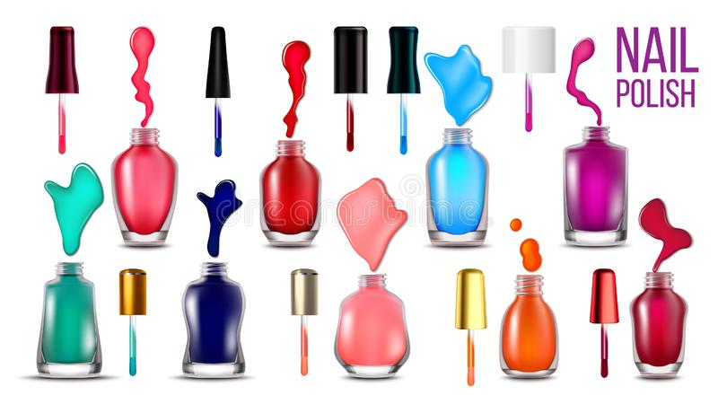 Collection Bottles With Nail Polish Set Vector royalty free illustration