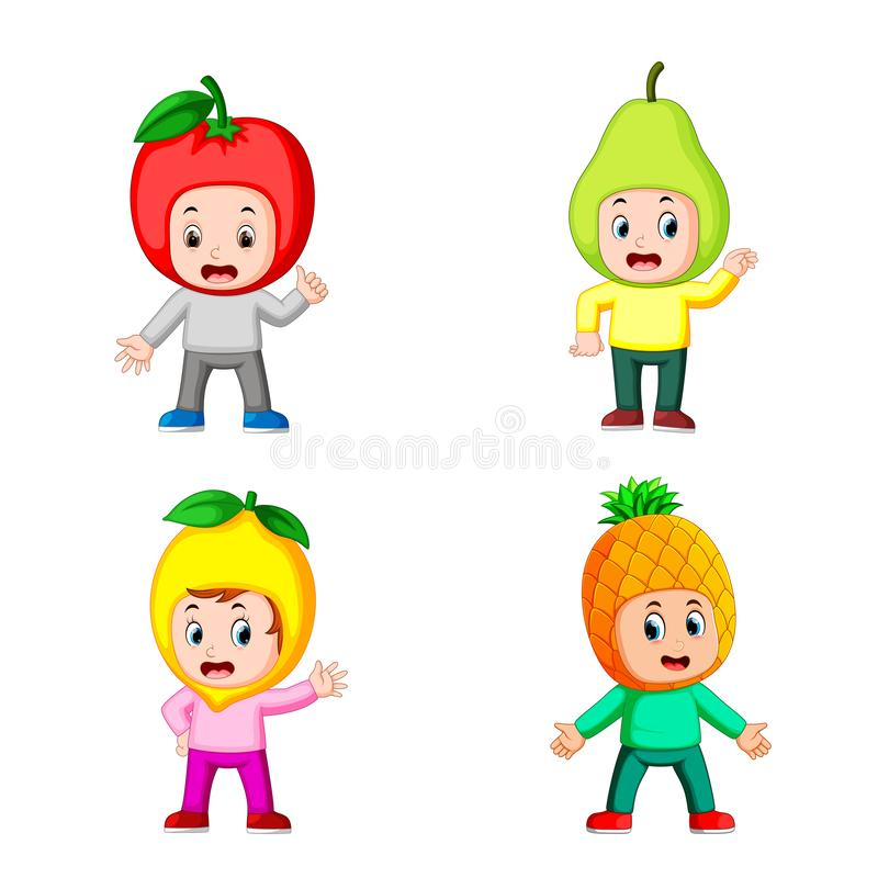 The collection of the boy children using the fruits costume with different posing. Illustration of the collection of the boy children using the fruits costume royalty free illustration
