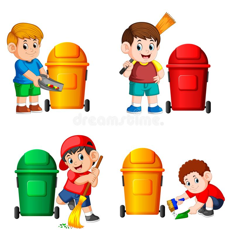 The collection of the boy with the trash bin in the different posing. Illustration of the collection of the boy with the trash bin in the different posing stock illustration