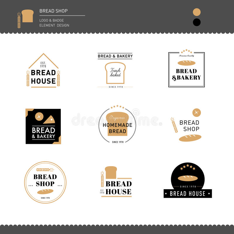 Collection of Bread and bakery cafe Design logo. Shop cafe business royalty free illustration