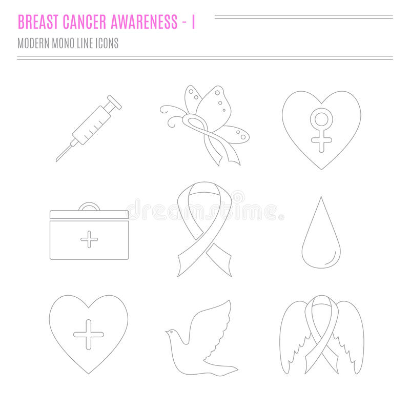 Collection Of Breast Cancer Awareness Icons Stock Vector