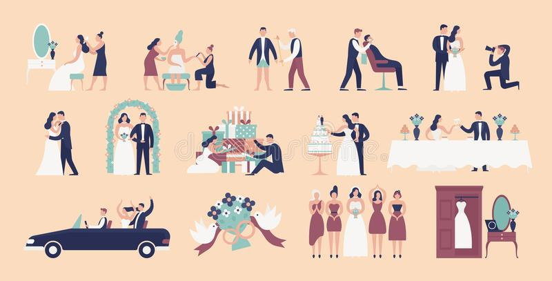 Collection of bride and groom preparing for wedding ceremony. Set of preparations for marriage celebration day isolated royalty free illustration