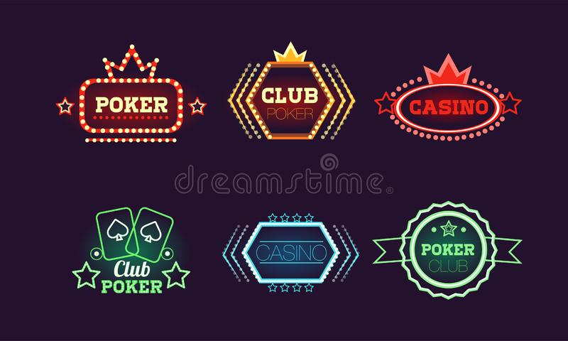 Collection of bright colorful neon signs, casino, bar, poker club, gambling logo design templates vector Illustration vector illustration