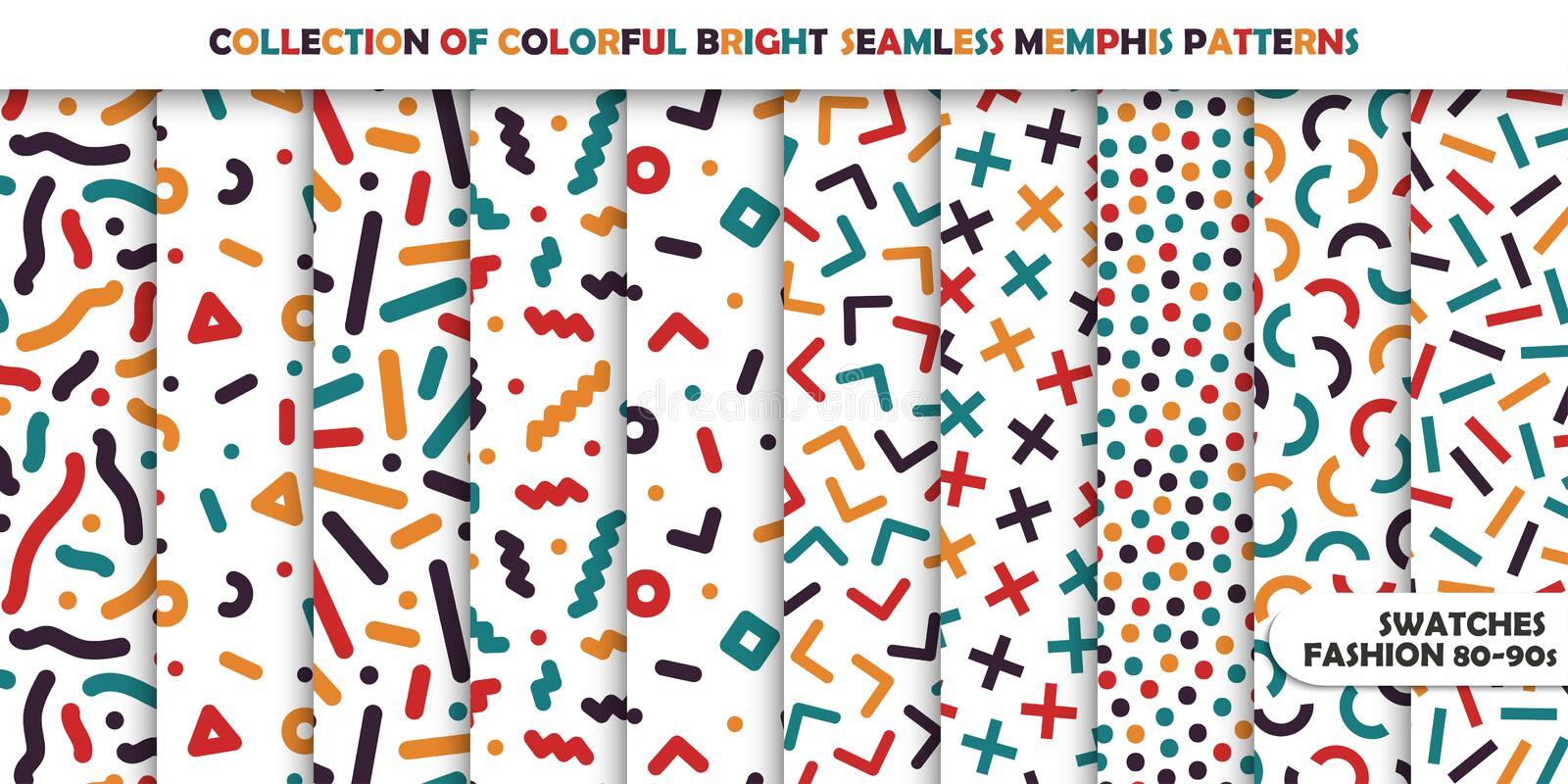 Collection of bright colorful seamless patterns. Memphis mosaic design - retro fashion style 80-90s stock illustration